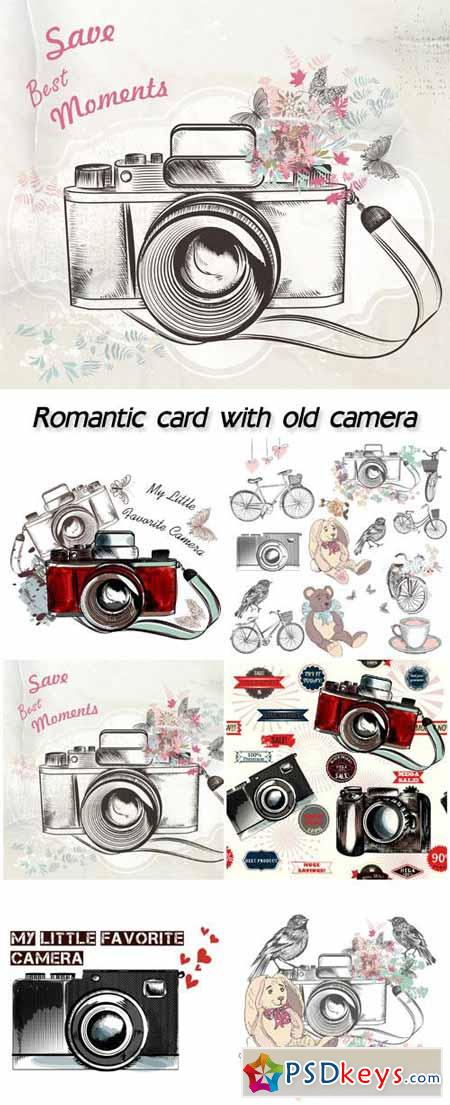 Beautiful romantic card with old camera, flowers in vintage style