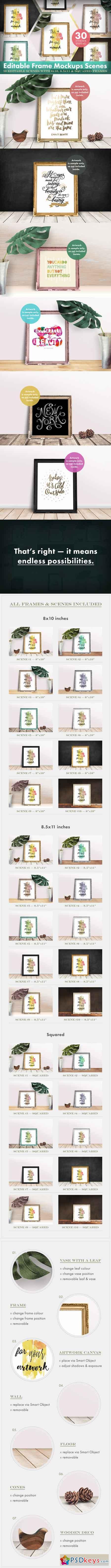 Editable Frame Mockups Scenes Bundle 514974