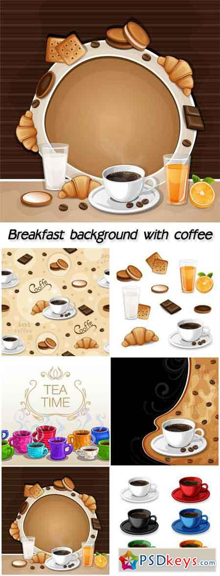Breakfast background with coffee, croissant, biscuits and cookies