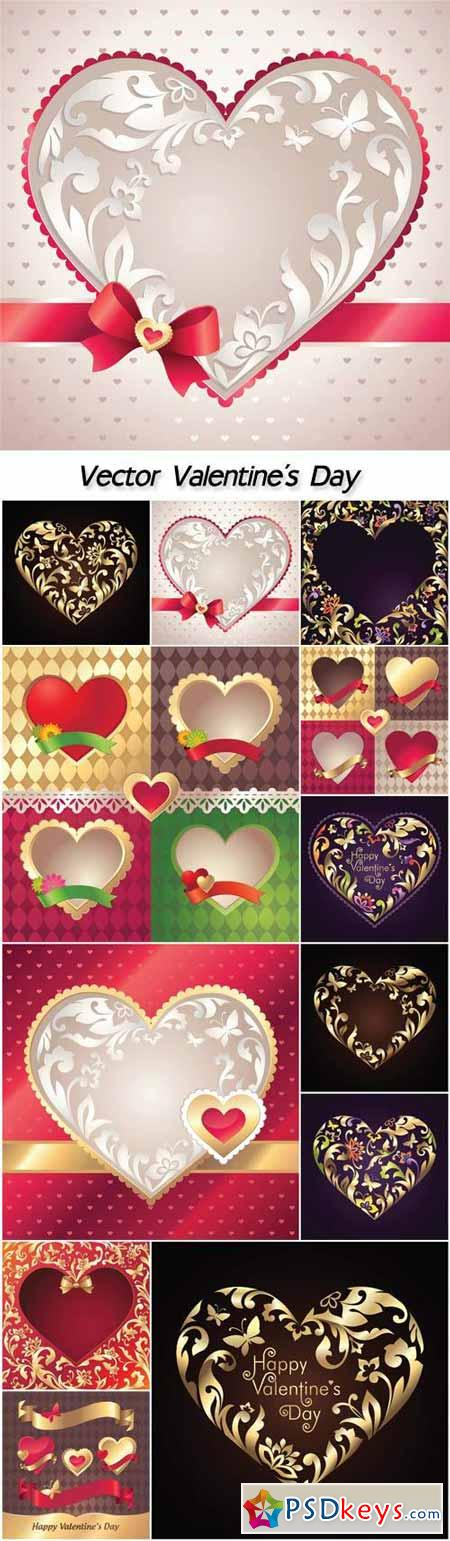 Vector Valentine's Day, hearts with patterns