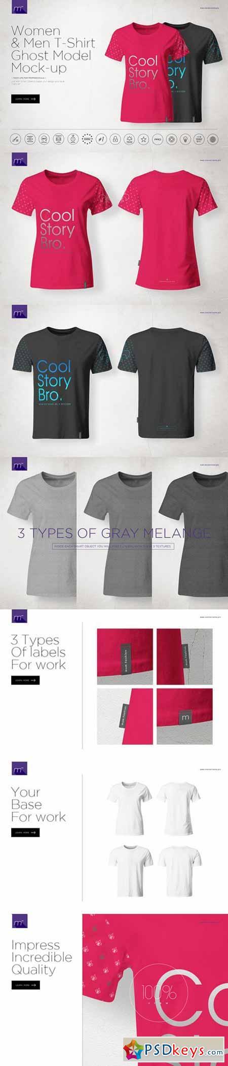 Men & Women Ghost T-shirt Mock-up 541278