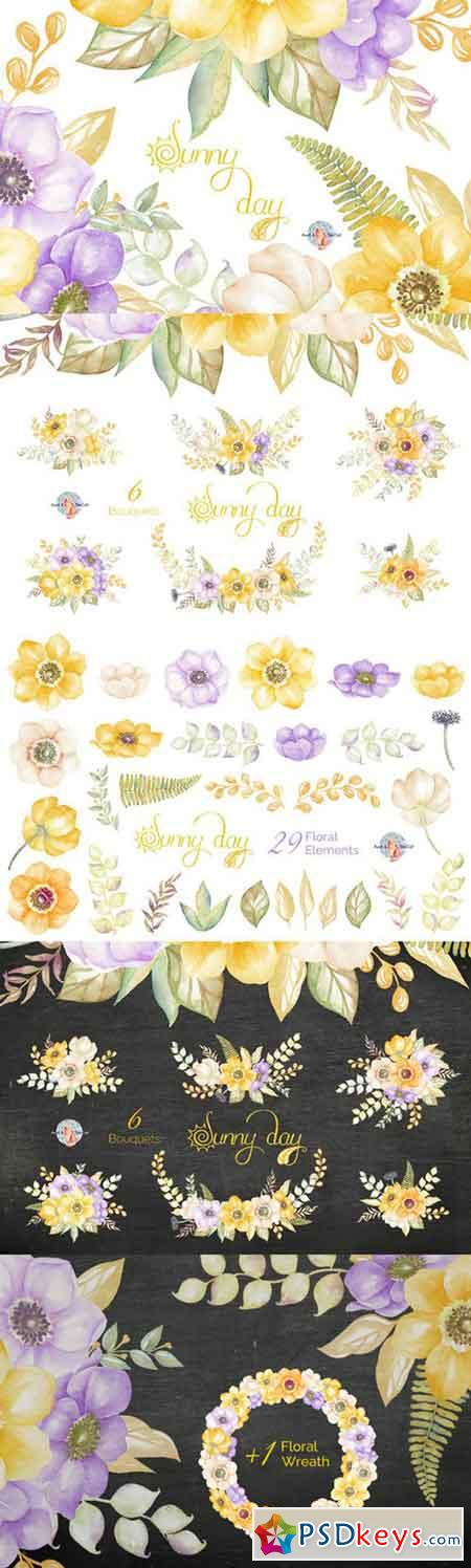 Sunny Day Watercolor Clipart 484116