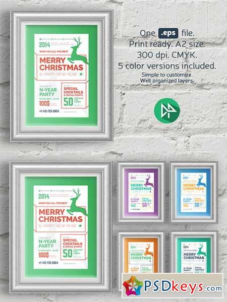 Christmas party poster template 106113
