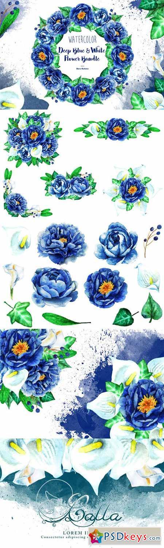 Deep Blue & White Flower Bundle 553161