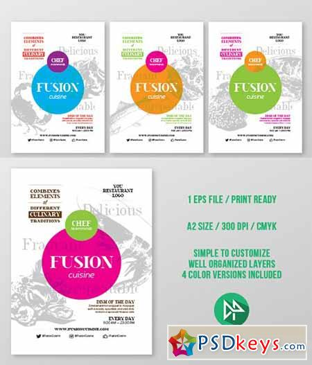Fusion food poster template 55258