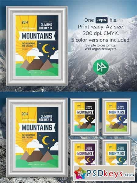 Mountain climbing poster template 109128