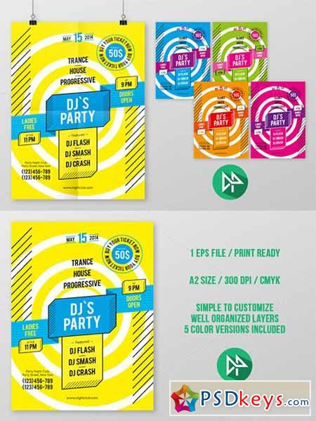 DJ's Party Poster Template 42542
