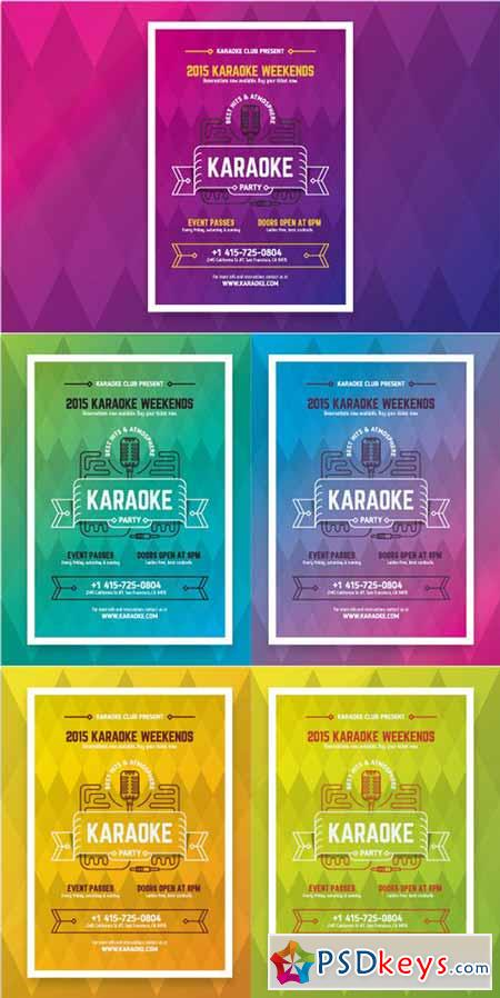 Karaoke party poster template 160534