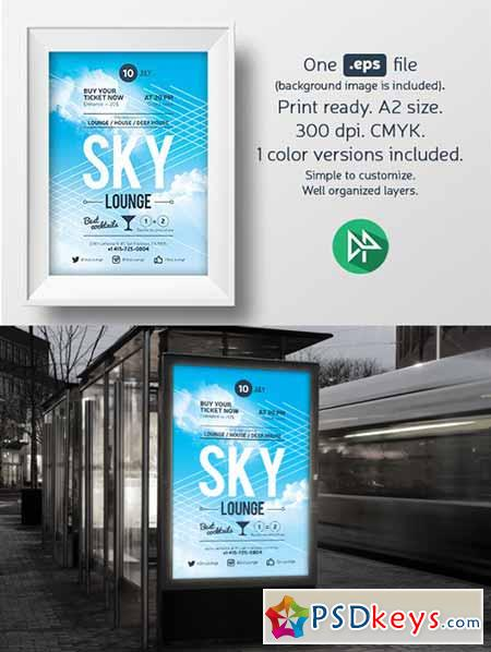 Sky lounge poster template 58778