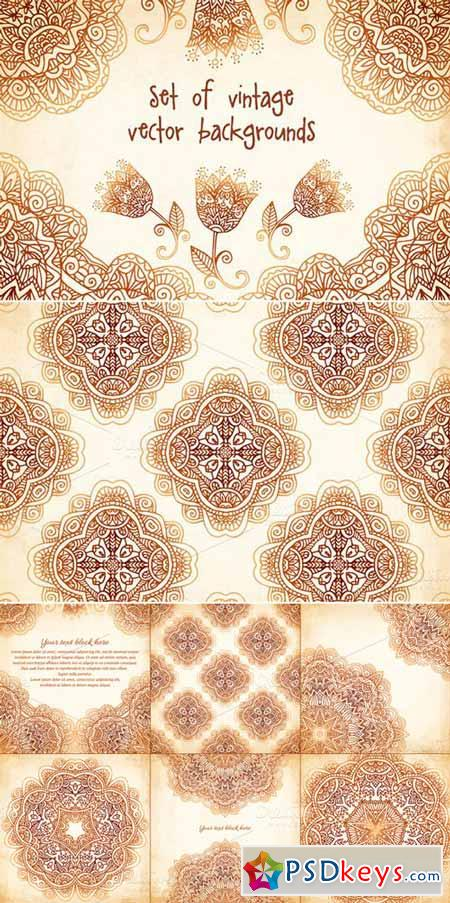 Set of 6 vintage vector backgrounds 14702