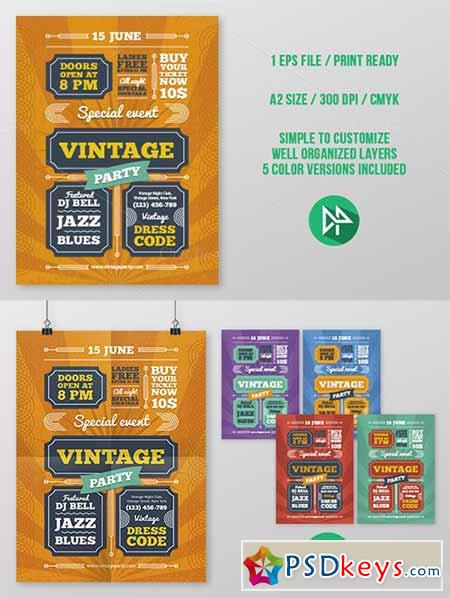 Vintage Party Poster Template 44390