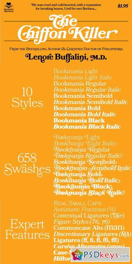 Bookmania Font Family  - 10 Font $290