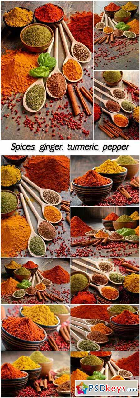 Spices, ginger, turmeric, pepper
