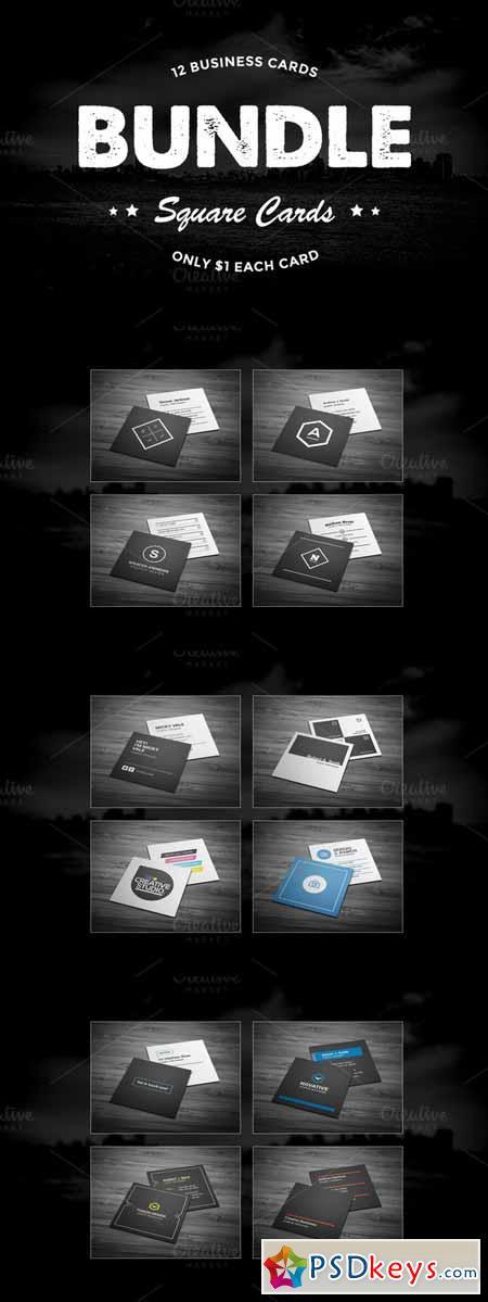 12 Square Business Cards Bundle 558761