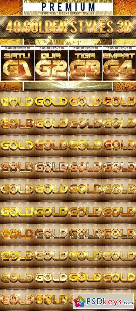 40 Golden Font 3D 560713