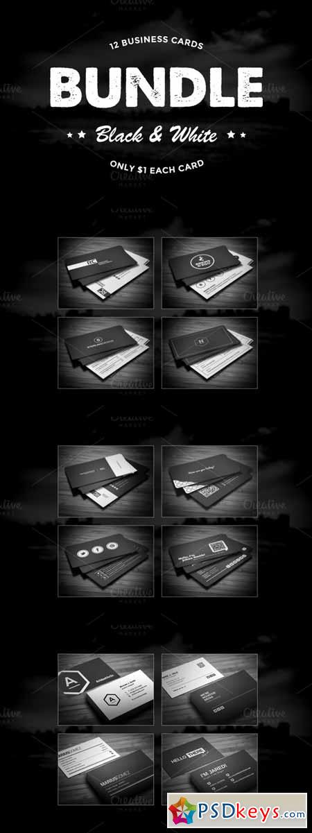 12 Black White Business Cards Bundle 558712