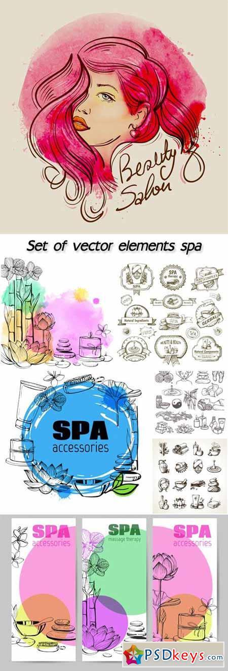Set of vector hand drawn elements spa, natural stones, lotus