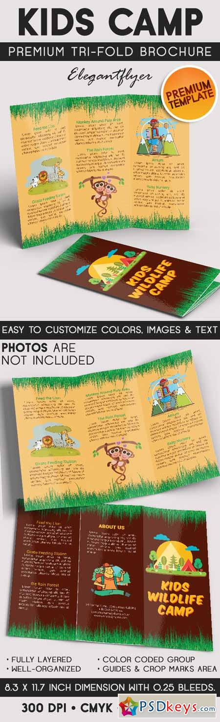 Kids wildlife camp tri fold brochure psd template free for Tri fold brochure template photoshop free