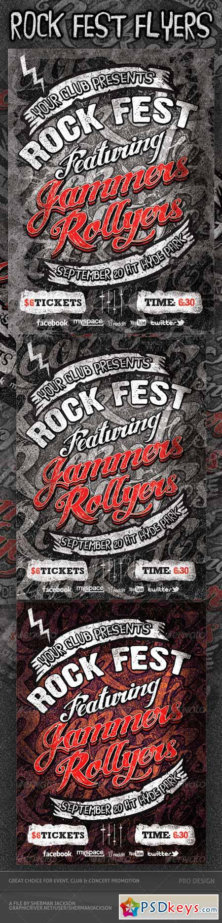 Rock Fest Typographic Flyer PSD Template 3009091