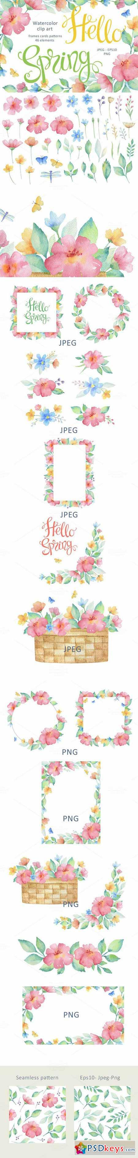 Hello Spring. Watercolor 563626