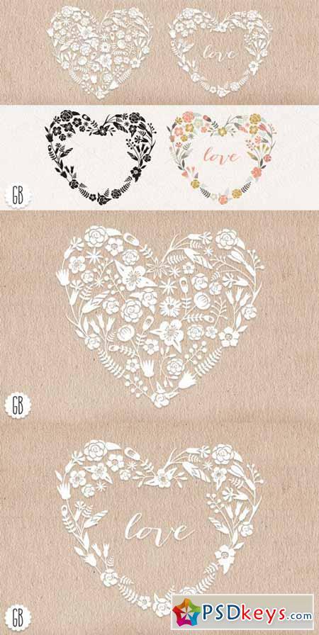 Floral heart wreaths papel picado 23275
