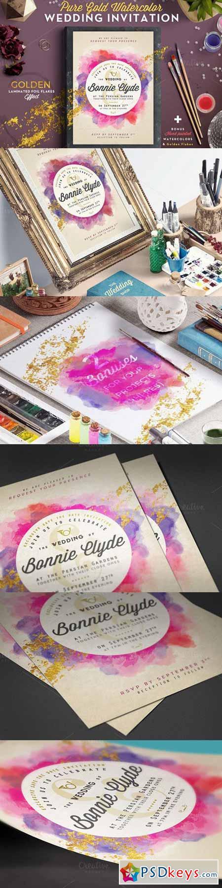 Pure Gold Watercolor Wedding Invite 565653