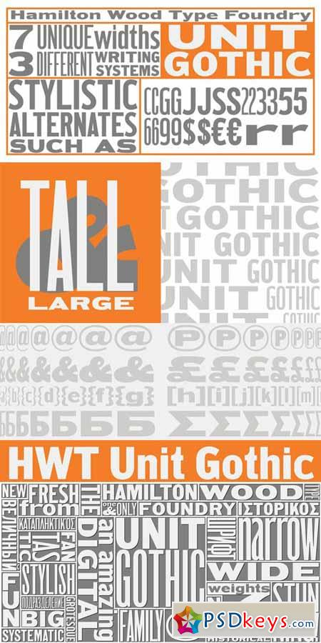 HWT Unit Gothic Font Family $149.95