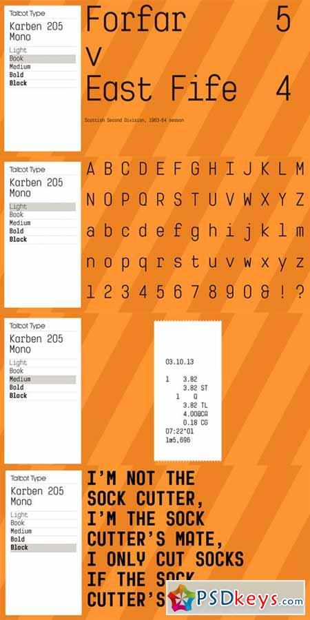 Karben 205 Mono Font Family $99