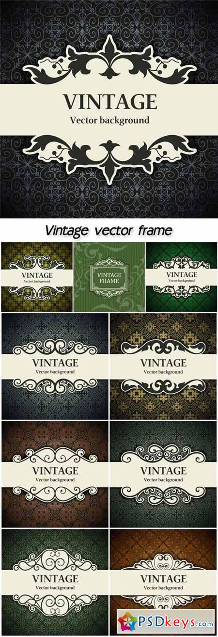 Vintage frame, vector backgrounds with patterns