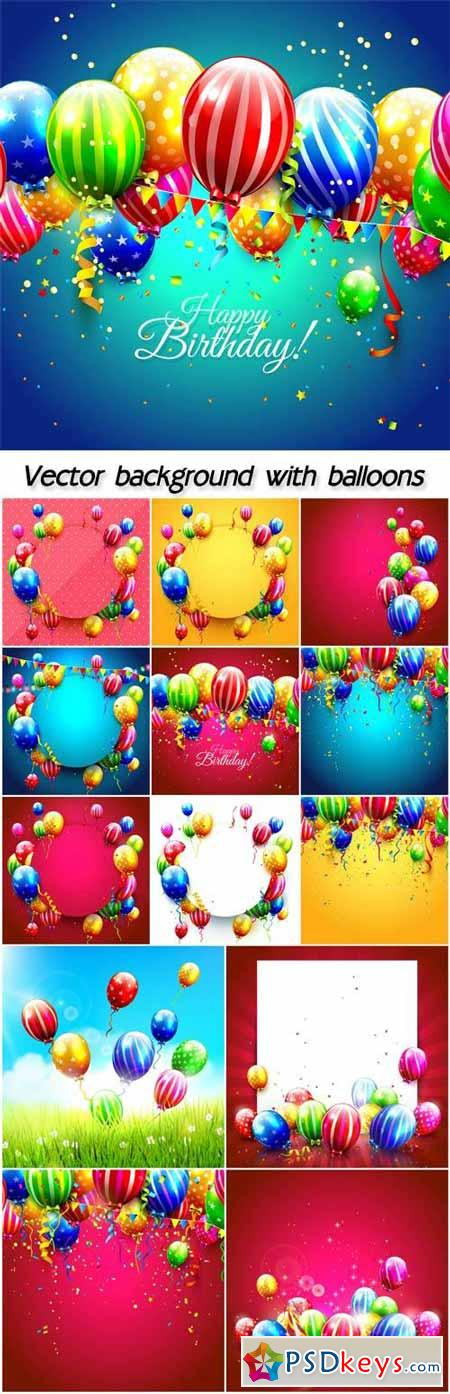 Vector background with balloons, happy birthday