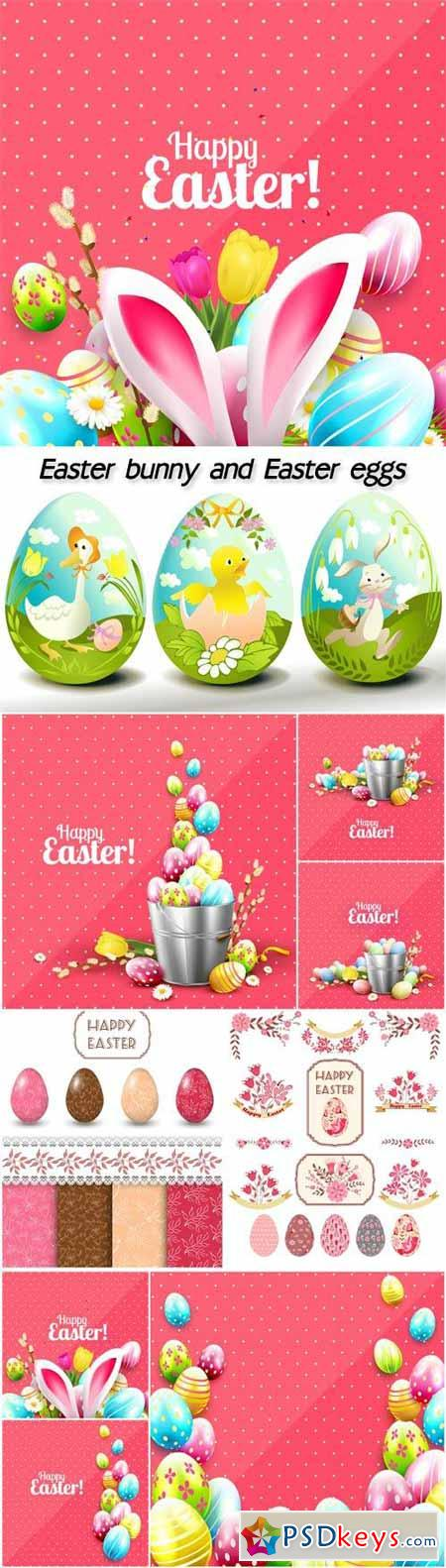 Easter bunny and Easter eggs vector backgrounds