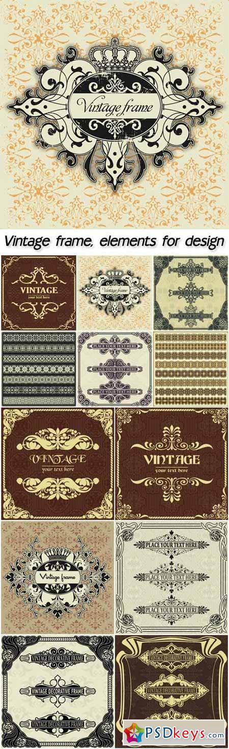 Vintage frame with crown, elements for design