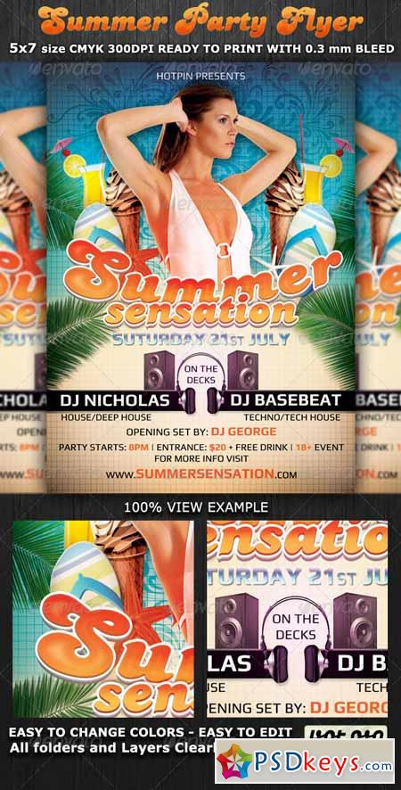 Summer Sensation Party Flyer Template 2375607
