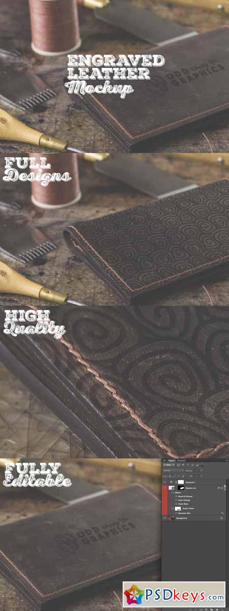 Engraved Leather Mockup 506616