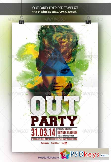 Out Party Flyer Template 6942630