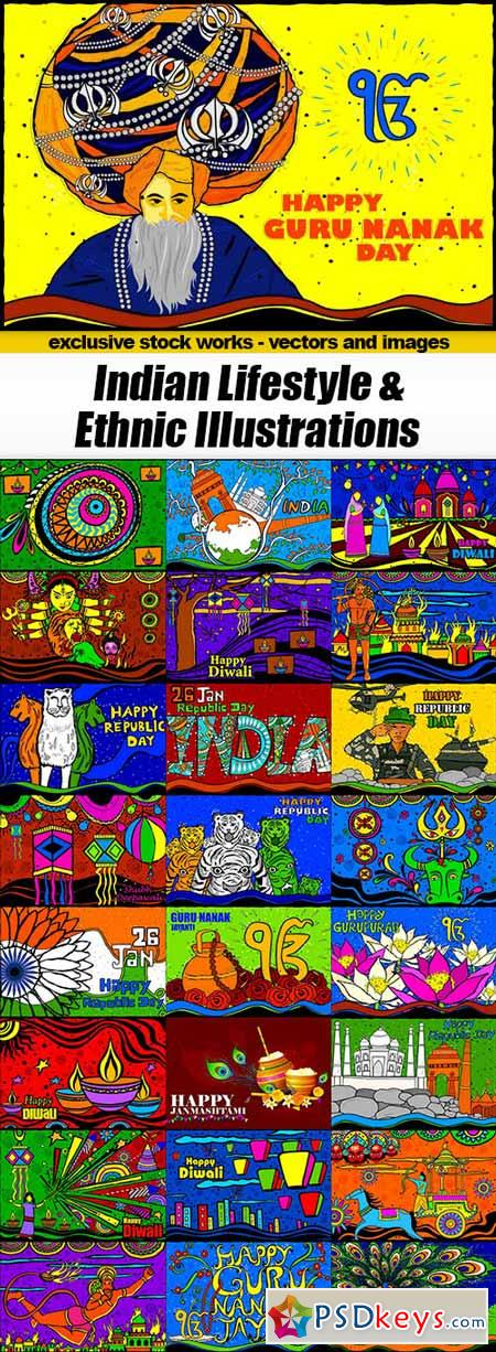 Indian Lifestyle & Ethnic Illustrations - 25xEPS