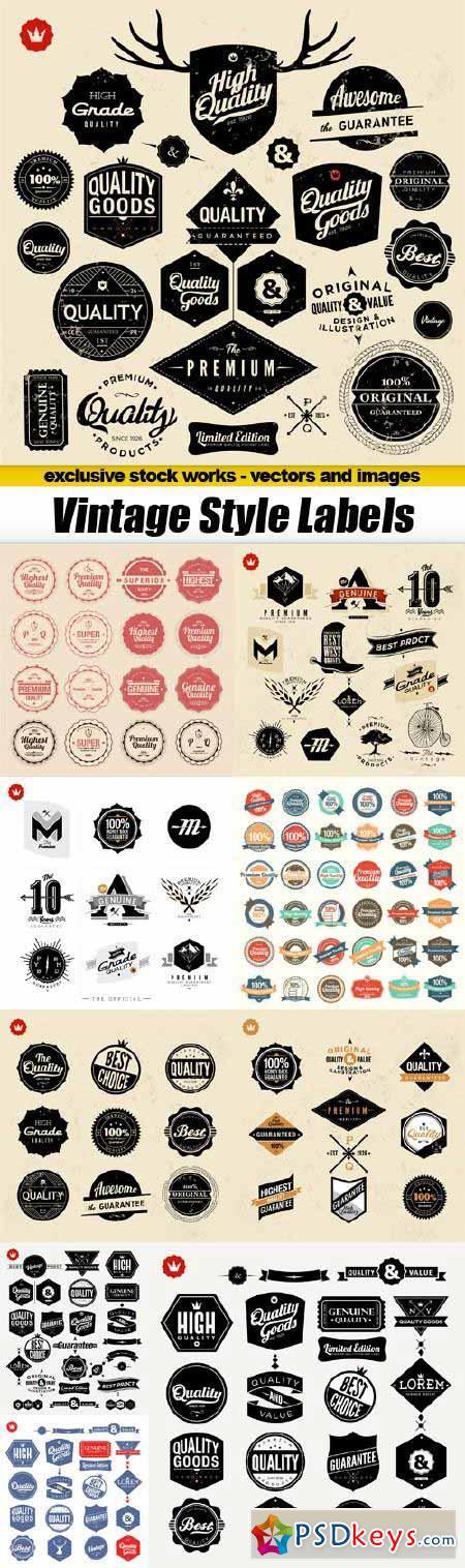 Vintage Style Labels - 10x EPS