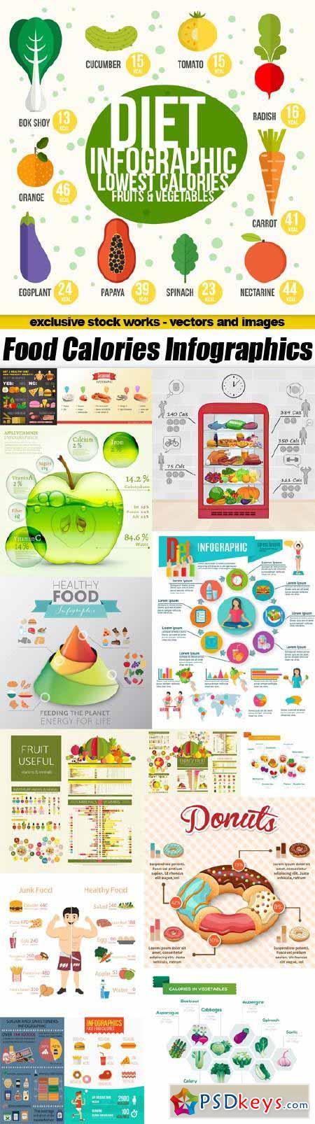 Food Calories Infographics - 15x EPS