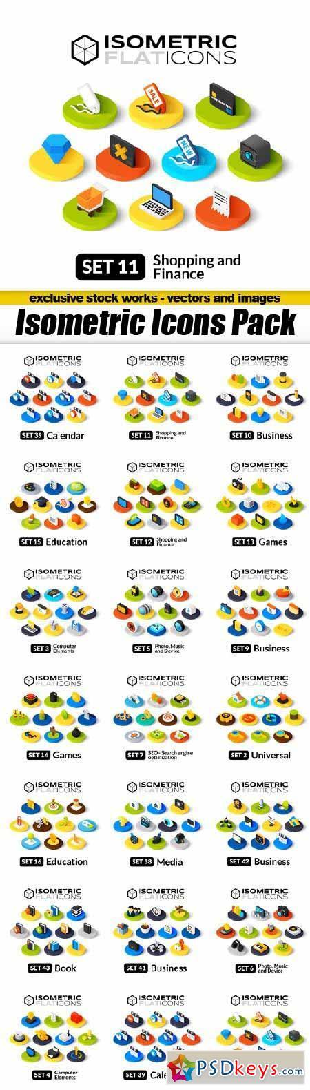 Isometric Flat Icons - 20x EPS