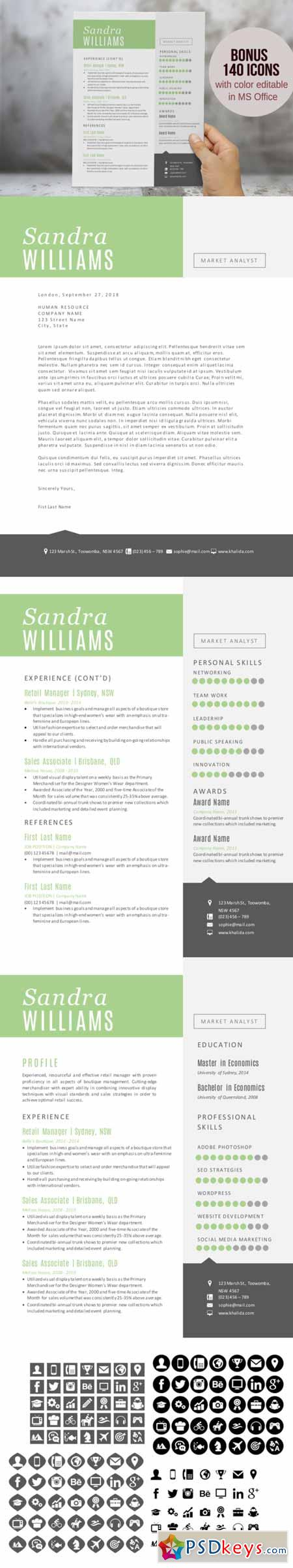 green 2 in 1 word modern resume pack 225561  u00bb free download photoshop vector stock image via