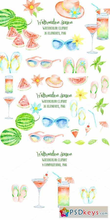 Watercolor Clipart Watermelon Season 564722