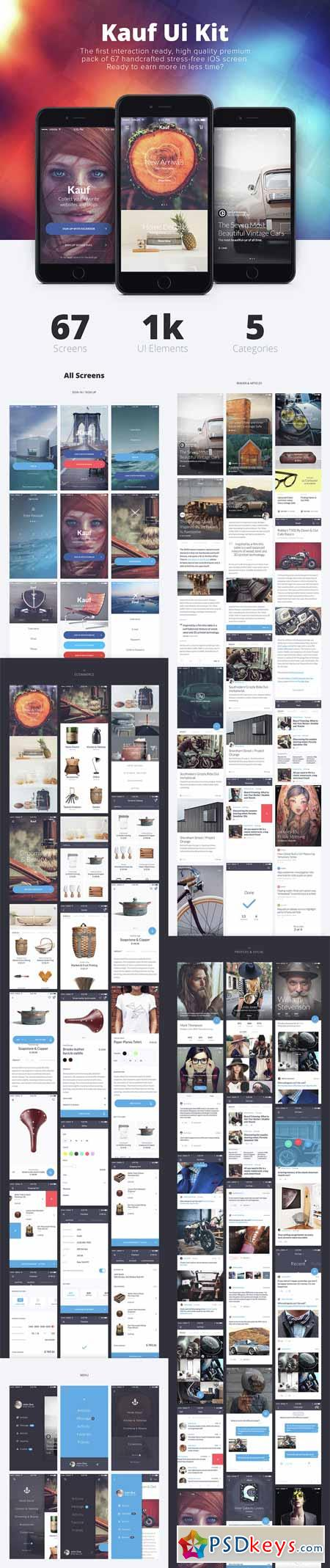Kauf iOS UI Kit - 67+ Template for Sketch » Free Download Photoshop