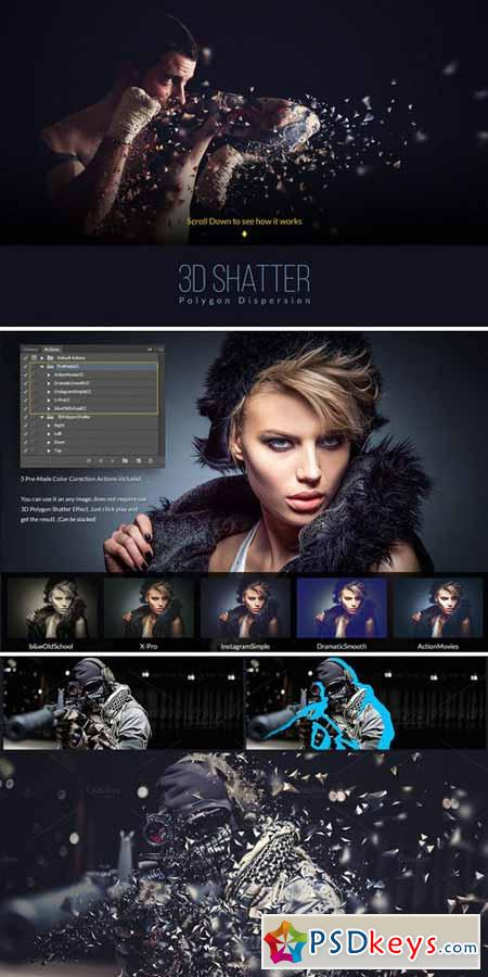 3D Polygon Shatter Photoshop Action 572801