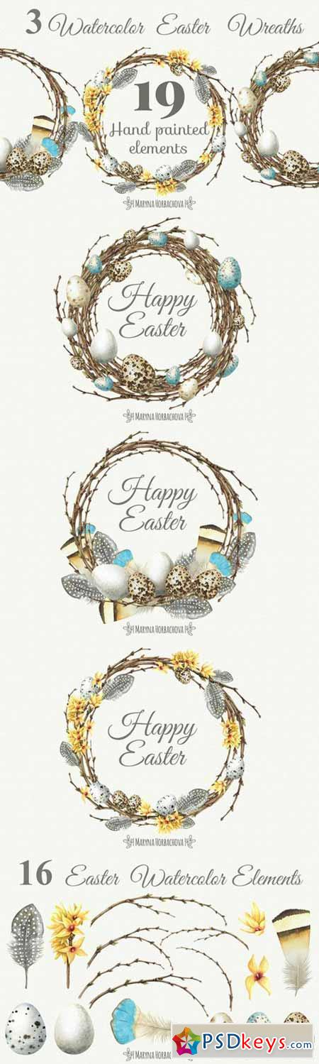 Watercolor Easter Wreaths 567985