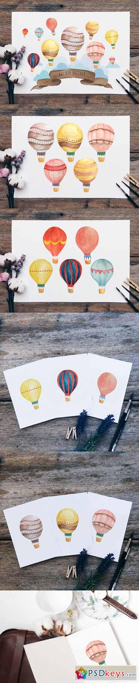 Hot Air Balloon Wall Art Bundle 581176