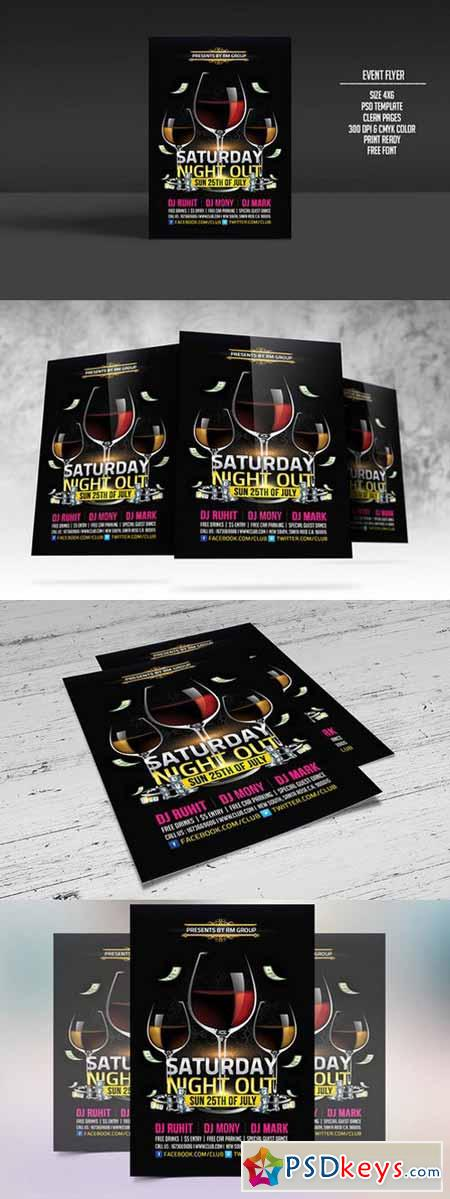 Saturday Nightout Party Flyer 291820