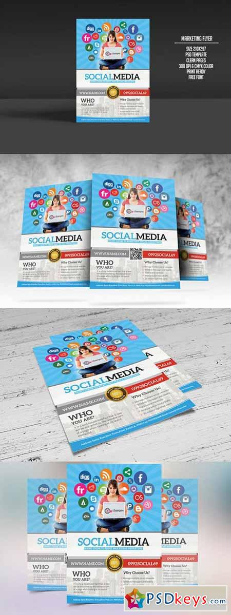 Social Media Marketing Flyer   Free Download Photoshop Vector