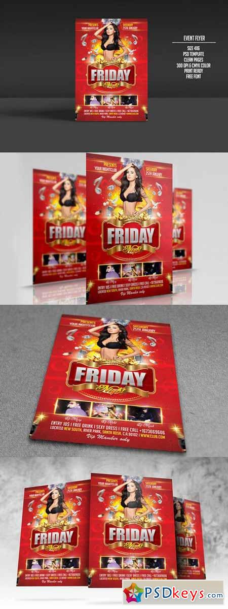 Friday Night Party Flyer Template 222505