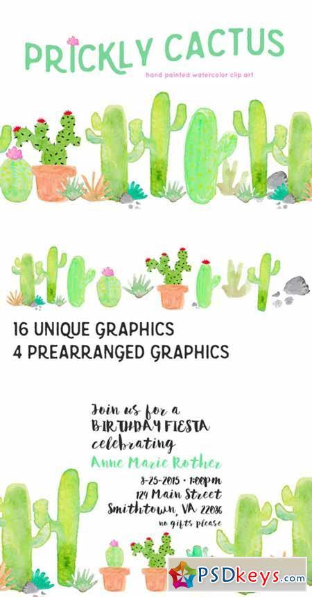 Cactus Watercolor Clip Art 335156