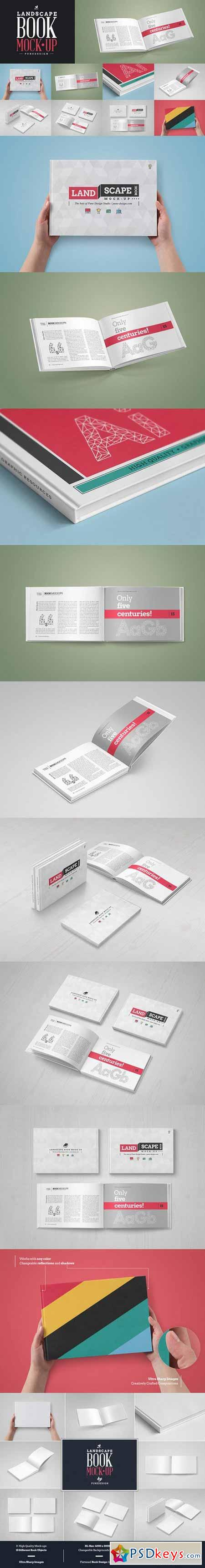 Landscape Book Mock-Up Set 580946